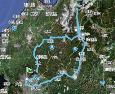 長野旅行全行程地図・衛星写真